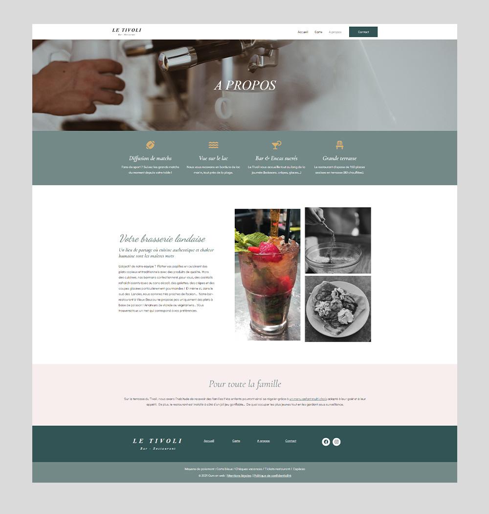 Création de site web en freelance - Restaurant Le Tivoli