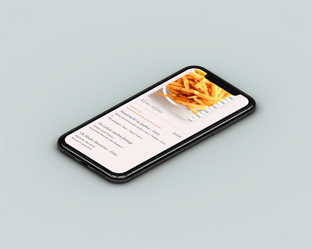 Création de site web en freelance - Mobile - Restaurant Le Tivoli